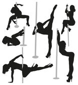 Female strippers silhouettes — Stock Vector