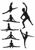 Black gymnastics silhouettes — Vector de stock