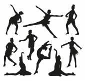 Silhuetas de dançarinos preto — Vetor de Stock