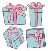 Blue gift boxes with pink ribbons — Vetor de Stock