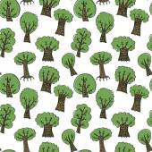Green hand drawn trees — Stock Vector