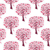 Pink trees with hearts — Vector de stock