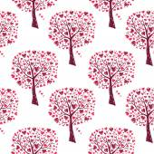 Pink trees with hearts — Stock Vector