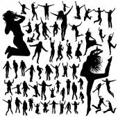 Jumping people silhouettes — Stock Vector
