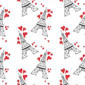 Eiffel towers with red hearts — Stock Vector