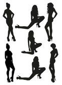 Black women silhouettes — Stock Vector