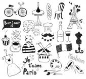 Black Paris doodles — Vector de stock