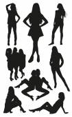 Posing women silhouettes — Stock Vector