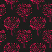 Red trees with hearts — Vector de stock