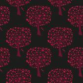 Red trees with hearts — Stockvektor