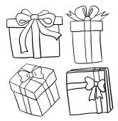 Hand drawn gift boxes — Stockvector