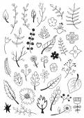 Black floral elements — Vector de stock
