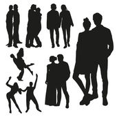 Black couples silhouettes — Stock Vector