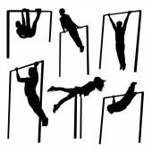 Silhouettes of people doing exercises — Vetor de Stock