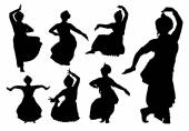 Indian dancers silhouettes — Stock Vector