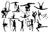 Svart gymnastik silhuetter — Stockvektor