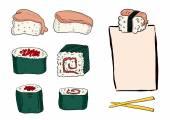 Bright sushi set — Stock Vector