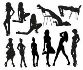 Silhouettes of the sexy girls — Stock Vector