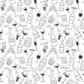 Siluetas de botellas y vasos — Vector de stock