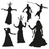 Black dancers silhouettes — Stock Vector