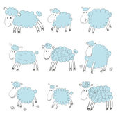 Blaue Cartoon sheeps — Stockvektor