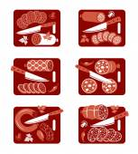 Sausage icon set — Stock Vector