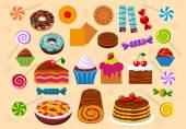 Pastry and dessert icon set. — Stock Vector