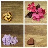 Květiny a srdce — Stock fotografie