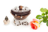 Jewelry with box and rose — Stock Photo