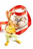 Bunny with jar of clams — Stock Photo