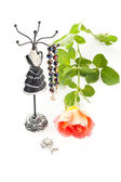 Jewelry with rose — Stock Photo