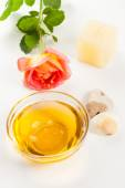 Aromatherapy oil and rose — Stock Photo