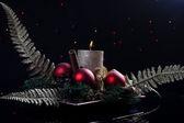 Kerstmis met kaars — Stockfoto