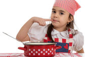 Girl playing cooking — Stock Photo