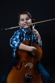 Cellist with fiddlestick — Stock Photo