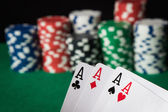 Four of a kind poker hand Aces — Stock Photo