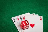Four aces and dice — Stock Photo