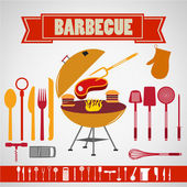 Barbecue set collection  Restaurant  Illustration — Stock Vector