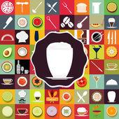 Menu Restaurant Set Collection Icon — Stock Vector