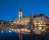 Hamburg Town Hall at night — Stock Photo