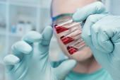 Closeup three medical samples — Stock Photo