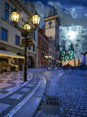 Prague, Old City Hall at night — Stok fotoğraf