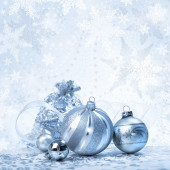 Silver Christmas background — Stock Photo