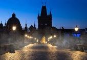Prague, Charles Bridge at night — Stok fotoğraf