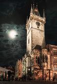 Prague, Old Town Hall at night — Stok fotoğraf