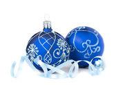 Blue Christmas Baubles — Stockfoto
