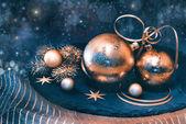 Golden Christmas decorations — Stockfoto