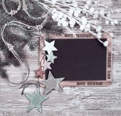 Chalkboard with winter decorations — Stock Photo