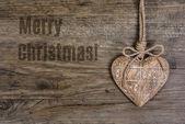 Merry Christmas! Wooden heart — Stok fotoğraf