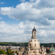 Aerial view of roofs of Old Dresden and Frauenkirche  — Stock Photo #57905483